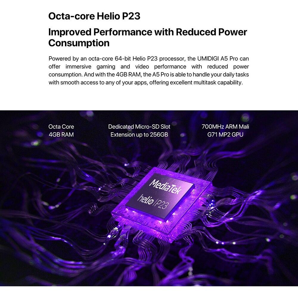 "HTB1d11DeRKw3KVjSZFOq6yrDVXa1 UMIDIGI A5 Pro Android 9.0 Octa-core 6.3"" Mobile Phone 16MP Triple Camera 4150mAh 4+32GB Global LTE 4G Fingerprint Smartphone"