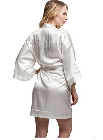 Fashion Silk Bridesmaid Bride Robe  Women Short Satin Wedding Kimono Robes Sleepwear Nightgown Dress Woman Bathrobe Pajamas