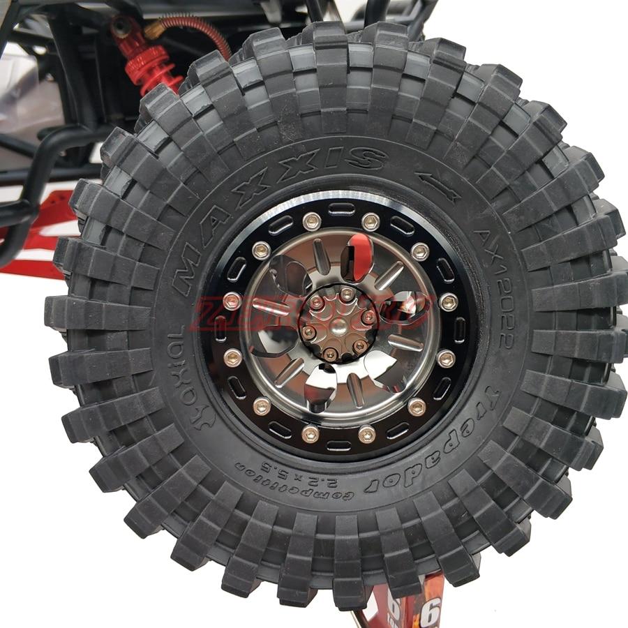 4PCS FULL METAL ROCK 2 2 Inch Beadlock Wheels Gun Metal For RC Crawler Car AXIAL
