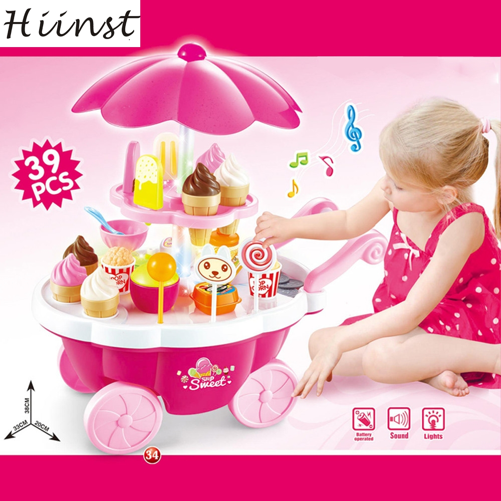 HIINST MallToy 2017 New Set 39PC Kids Toys Simulation Mini Candy Ice Cream Trolley Shop Pretend Play Drop Shipping Aug24