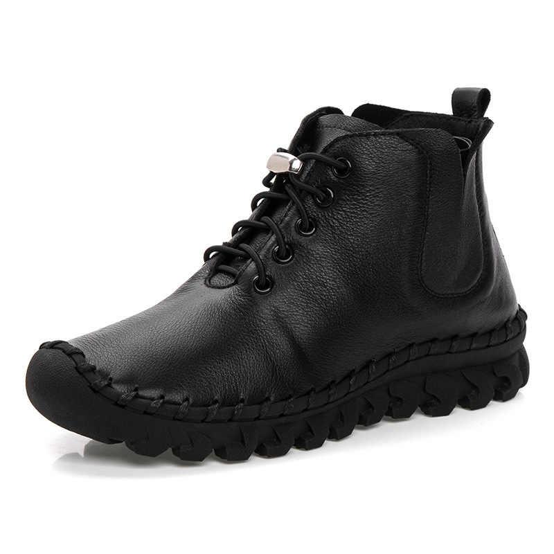 Sonbahar/kış 2018 kadın ayakkabısı düz dipli el yapımı ayakkabı büyük deri çizmeler kadın kış rahat kadın çizmeler