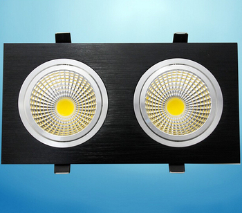 Free Shipping 10pcs 14w Dimmable Double LED Recessed Ceiling Down light Cabinet Lamp Warm Cool White For bedroom illumination