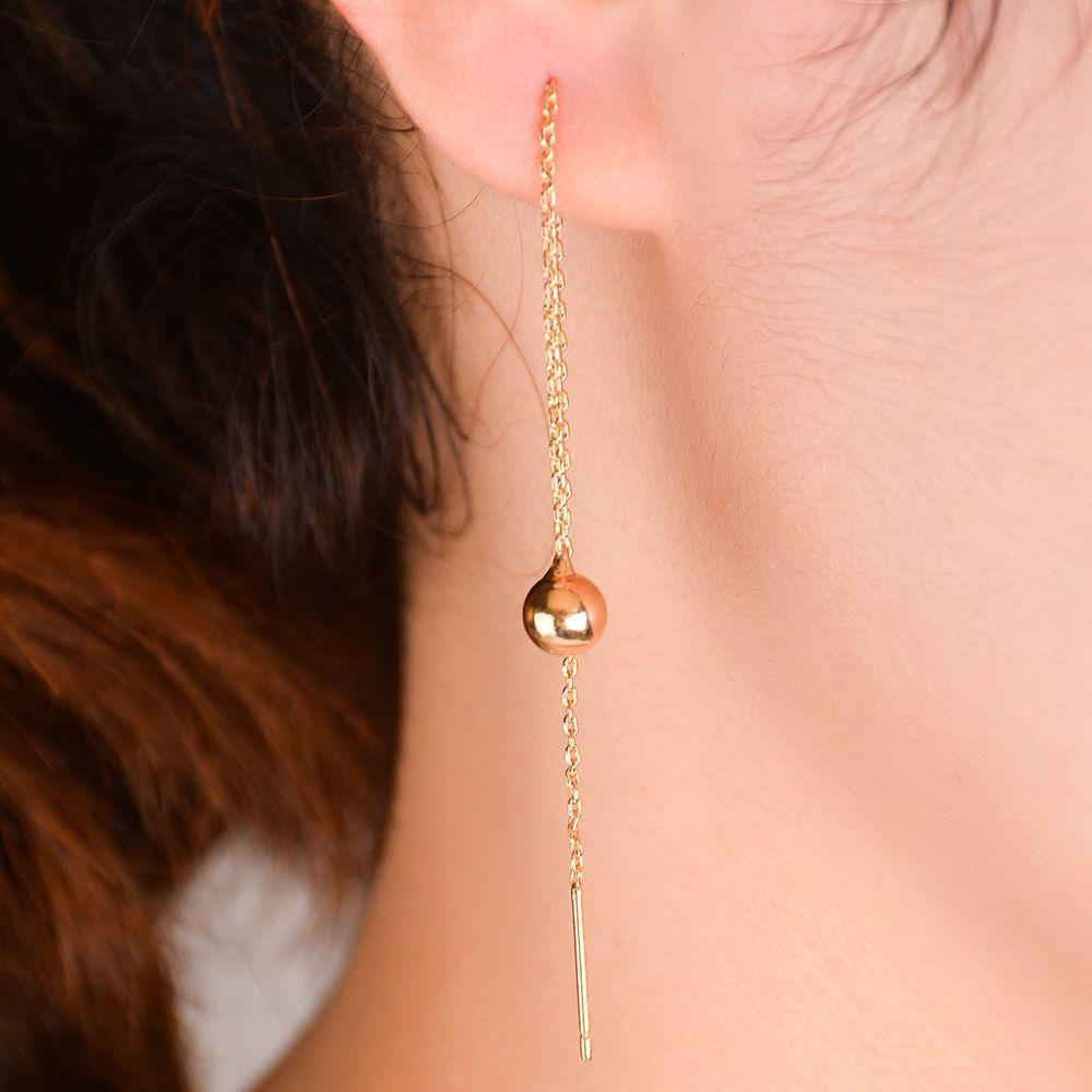Ear Line Long Earrings Elegant With Chain Hanging Gold Color Fashion Anting Gantung Segitiga 1 Pair Wanita Emas Perak Rantai Panjang Telinga Threader Drop Menjuntai Geometris