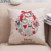 Merry Christmas Decoration 45x45cm Pillow Cases Linen Sofa Cartoon Cushion Cover Happy New Year Party Home Decor Xmas linen seat cushion merry christmas pillow cover