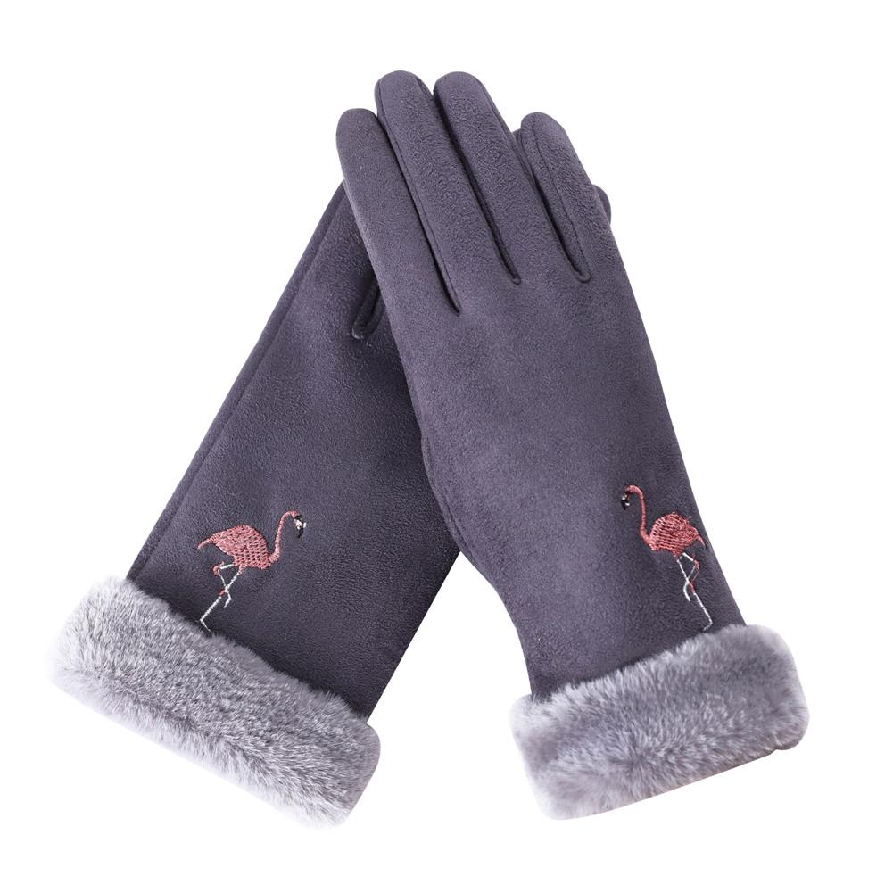 MISS M Women's Winter Outdoor Gloves Flamingo Pattern Touch Screen Warm Gloves Casual Fashionable Suede Fabric Gloves Lady Pink