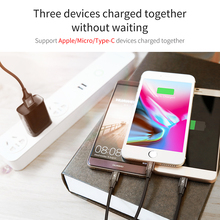Baseus 3 en 1 Cable USB para iPhone XS Max XR X 8 7 cargador de carga de Micro USB Cable 2 en 1 teléfono móvil USB tipo c Cable de tipo c