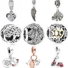 Pendant Necklaces Hollow Tree Bear Feather Elephant Love Heart Crystal Beads Fit Pandora Charms Bracelets for Women DIY Jewelry(China)