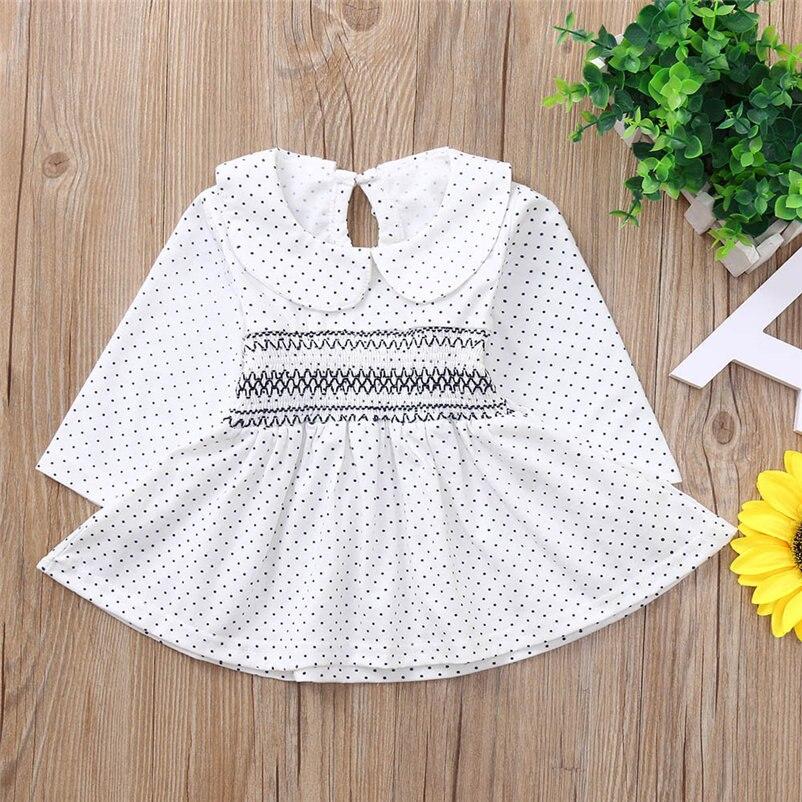 mini dot pattern baby girls dress fashionable long sleeve dress for toddler girls lovely princess conjunto menina 4OT1 (8)