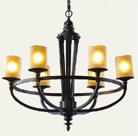 New Natural Circle Classic Stainless Steel Material 6 Lamps 82x 76cm Black Wrought Iron Chandeliers Factory
