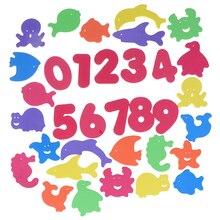 34 шт. Детские пазлы для ванны, плавающая игрушка из пены, мягкие детские плавающие игрушки для купания, детские развивающие игрушки в форме животного, игрушки для игры в воду