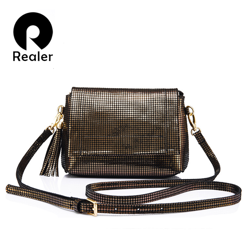 REALER women messenger bags genuine leather mini woman bags fashion with tassel ladies shoulder crossbody bag female small 2017 fashion all match retro split leather women bag top grade small shoulder bags multilayer mini chain women messenger bags