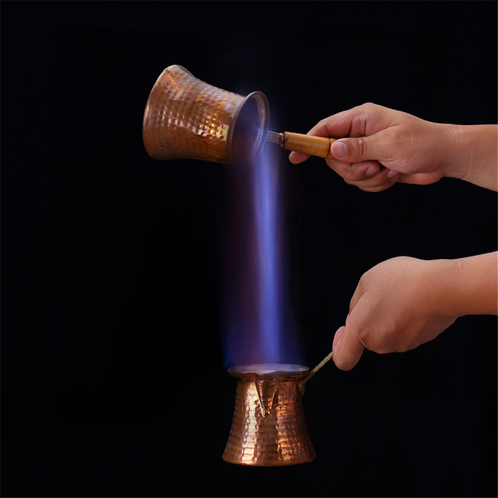 Premium Brass Copper Turkish Coffee Warmer Pot with Handle, Also for Turkish Greek Arabic Tea or Coffee