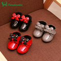 0-2Y Winter Cute Baby Booties Mi Mouse Shoes For Newborns Glossy Walking Shoes Baby Bowtie Waterproof Infant Toddler Boots
