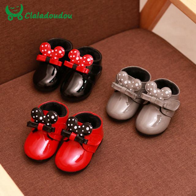 0-2y invierno botines lindo bebé mi ratón para recién nacidos zapatos para caminar bebé bowtie brillante impermeable botas infantiles del niño