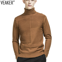 2018 Autumn winter Men's Turtleneck sweaters high neck sweaters pullover Male knitwear Long Sleeve knitted Tops pullovers M-3XL