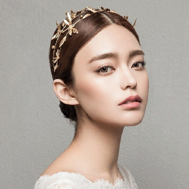vintage braut stirnband libelle hochzeit tiara krone gold braut