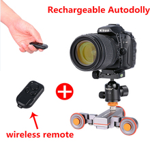 Updated Motorized Electric Rechargeable Dolly Car with Wireless Remote Control for iPhone,Works with Camera Track Rail Slider