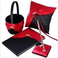 Black And White 4pcs Set Guest Book Flower Basket Pen Holder Ring Pillow Handmade Satin Rhinestone