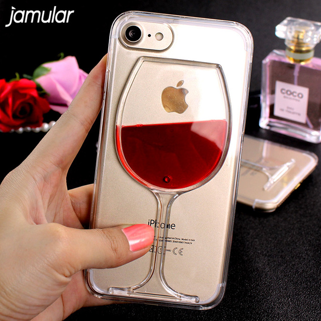 quality design 22bbd e7438 US $2.51 10% OFF|JAMULAR Red Wine Cup Liquid Transparent Hard Case For  iphone X 8 6 6s 7 Plus SE Phone Cases Cover for iphone 7 6 6s Plus  Fundas-in ...