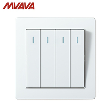 MVAVA Push Button Lamp Wall Switch 16A 250V 4 Gang 2 Way Light Switches Luxury White Panel Factory Direct Sale Free Shipping