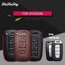 KUKAKEY Leather Car Key Fob Case Bag Shell Protected Cover For Hyundai I30 IX45 IX35 Sonata Tucson Santafe Verna Auto Parts