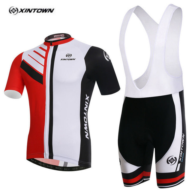 XINTOWN Pro Bike Jersey Bib Shorts Sets Red White Male Ropa Ciclismo Cycling  Top Bottom Men Riding mtb Bicycle Clothing Suits f22908d30