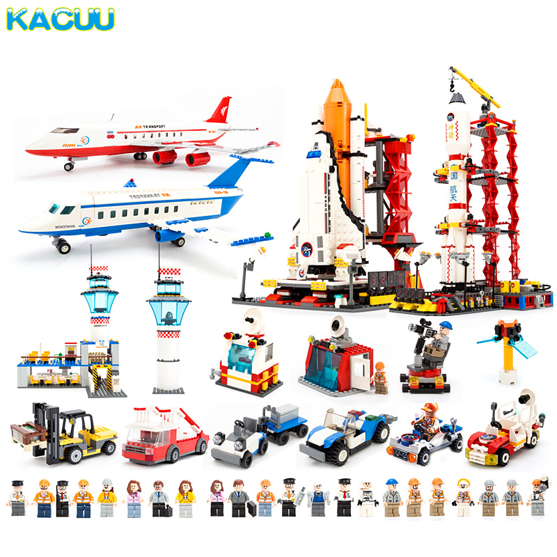 KACUU Block City Large Passenger Plane Airplane Assembly Bricks Compatible LE-GO Building Blocks Educational Toys For Children hot city series aviation private aircraft lepins building block crew passenger figures airplane cars bricks toys for kids gifts