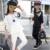 Meninas branco ternos do esporte outono de 2016 novos do bebê roupas de menina adolescente meninas cabeça de manga comprida moda primavera conjuntos de algodão excelente