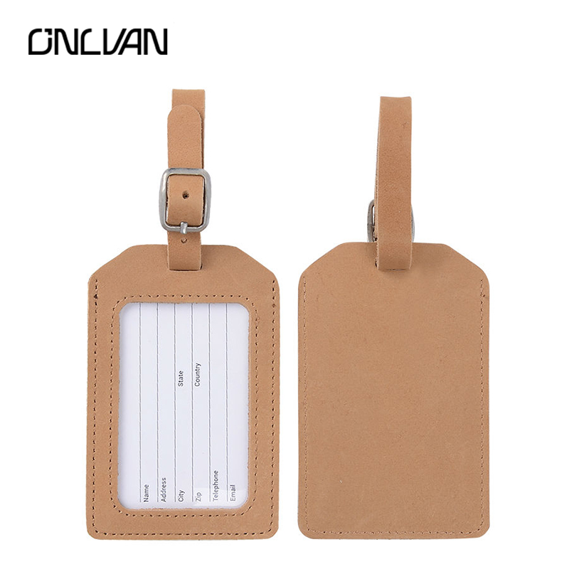 ONLVAN Genuine Leather Luggage Tag Cowhide Tag Business Bag Tags Travel Accessories Luggage Tag Accept Customized Order
