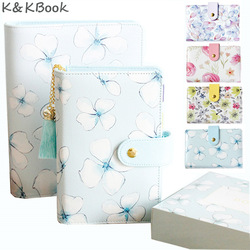 K&KBOOK Kawaii Flower Leather Notebook A5 A6 Spiral Notebook Stationery Personal Diary Binder Weekly Planner A5 Agenda Organizer