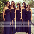 Navy Blue Long Bridesmaid Dress 2016 Sweetheart Off The Shoulder Side Side Slit Sexy Wedding Party Dresses Cheap Bridesmaid Gown