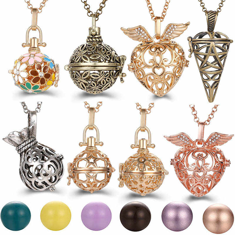 2019 Multi Styles Hollow LOVE Angel Wings Vintage Necklace Music Ball Pregnancy Bell Necklace Aroma Essential Oil Locket Pendant