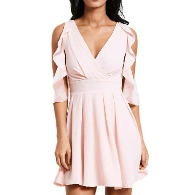 Rosa rüschen Polyester Mini kleider Strap v ausschnitt strand sommer ...