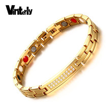 Vinterly Wrist Band Magnetic Bracelet Femme Germanium Gold-color Chain Stainless Steel Bracelet Women Energy Crystal ID Bracelet(China)