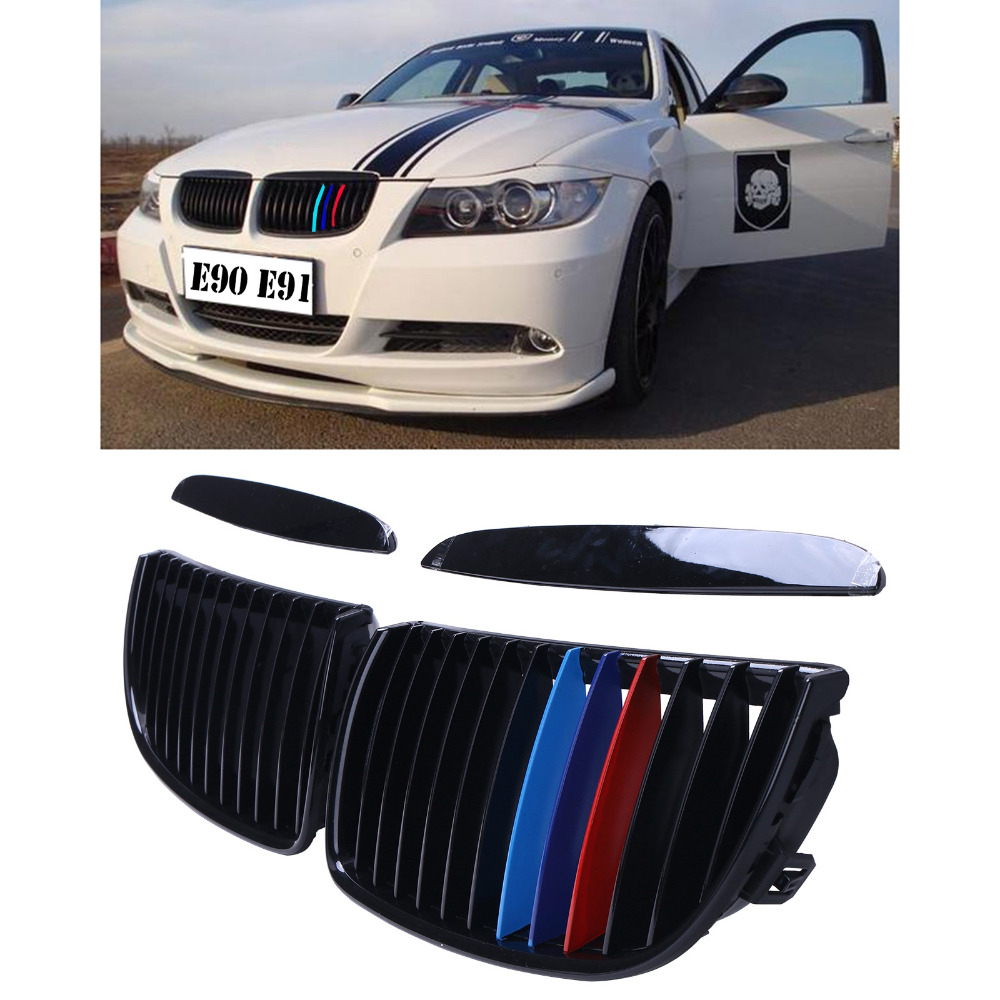 2x Front Grill Grille For BMW E90 E91 325i 328i 330i 335i 4-Door 3 Series 2005 2006 2007 2008 Gloss Black M Color #9203 epman turbo intercooler for bmw 135 135i 335 335i e90 e92 2006 2010 n54 ep int0022bmwt335i