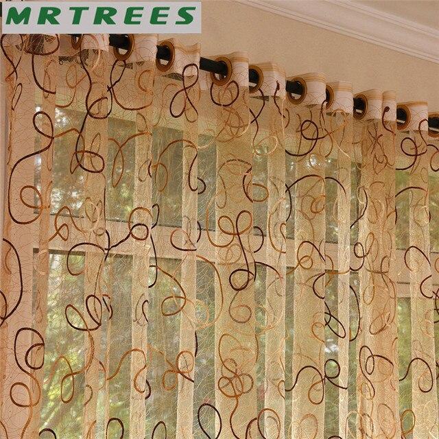 Moderno Ricamato Sheer Tende Finestra Tende di Tulle per Soggiorno camera Da Letto Cucina Bianco Voile Tende per finestra Tende