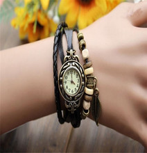 Womens Bracelet Vintage Weave Wrap Quartz Leather Leaf Beads Wrist Watches  Free shipping #250717