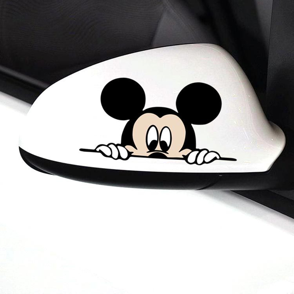 Image 3 - Funny Mickey Mouse Car Sticker Cut Peeping Cover cute cartoon colorful personality fashion stickers window and car tail-in Car Stickers from Automobiles & Motorcycles