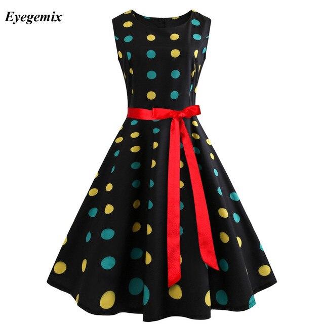 519099660d0 ... Women Summer Music Note Printing Dress Audrey Hepburn Robe Retro Swing  Casual Vintage Sleeveless O- ...