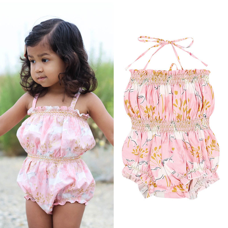 Infant Baby Girl Unicorn Off shoulders Floral Romper Playsuit Kids One-Pieces Clothes Outfits
