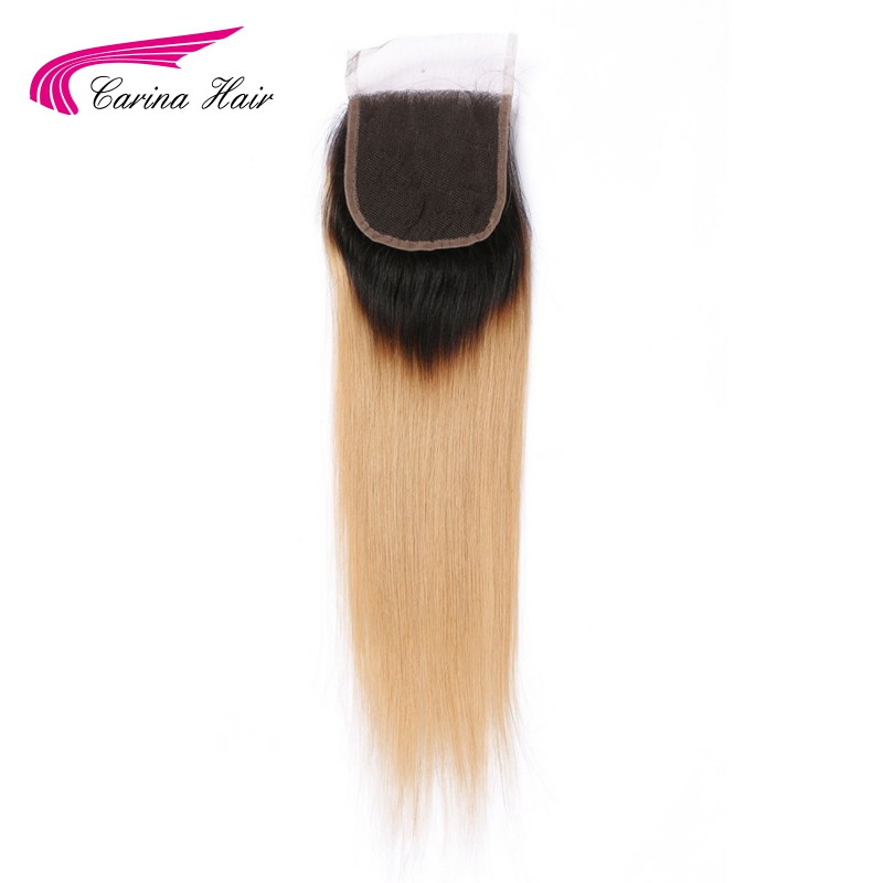 Carina Hair Ombre Color Brazilian Remy Human Straight 1b / 27 # 4 * 4 - Մարդու մազերը (սև) - Լուսանկար 3