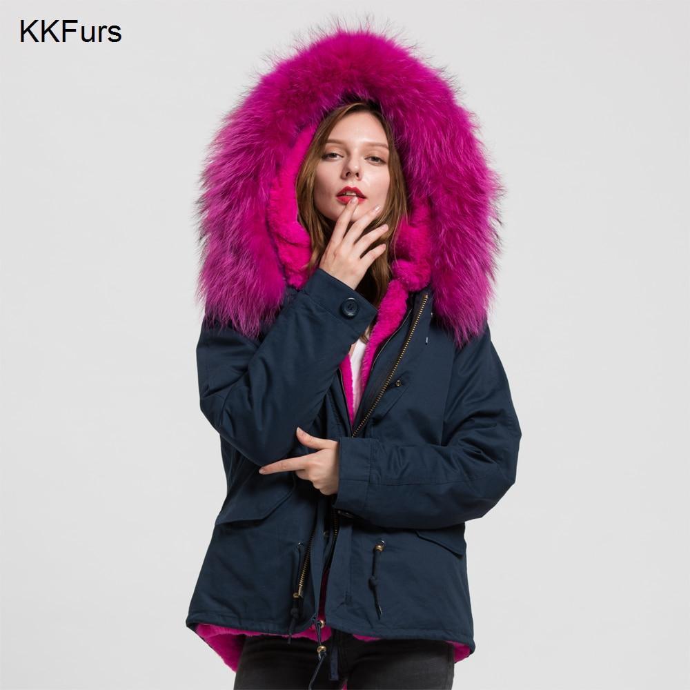 JKKFURS 2019 nouvelle veste femme véritable raton laveur grand col fourrure Parka garniture hiver chaud doublé à capuche manteau S1722