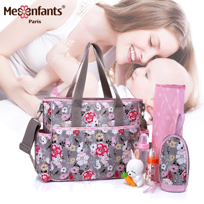 Mesenfants 6 Pairs/set Baby Nappy Bags Suit Large Capacity Multifunction Diaper Bag Mother Maternity Handbag Baby Stroller Bag insular 2017 new arrival fashion bohemian style mother bag baby nappy bags large capacity maternity mummy diaper bag 5pcs set