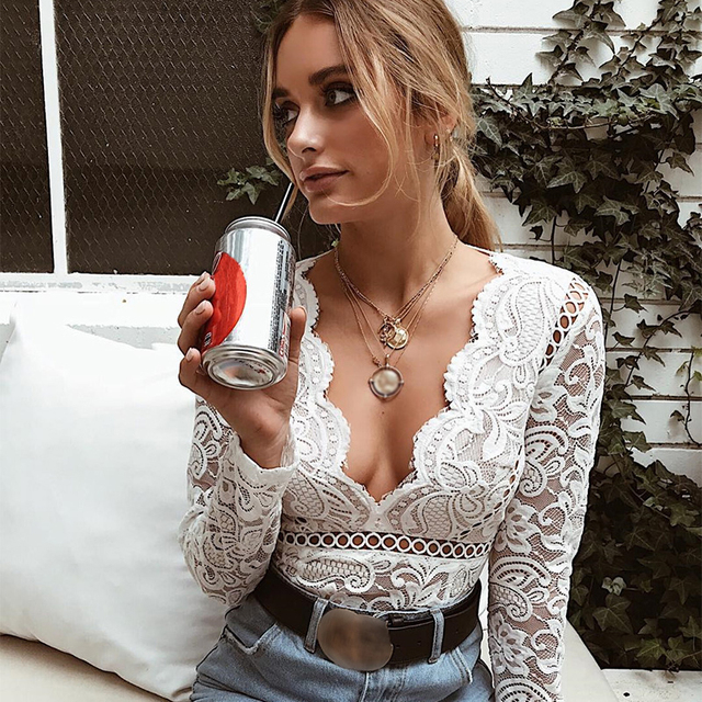 43e8208b71 Bodysuit Women Long Sleeve Sexy Deep V Neck Scalloped Backless White Lace  Bodysuit Body Women One Piece Bodycon Tops Bodysuits