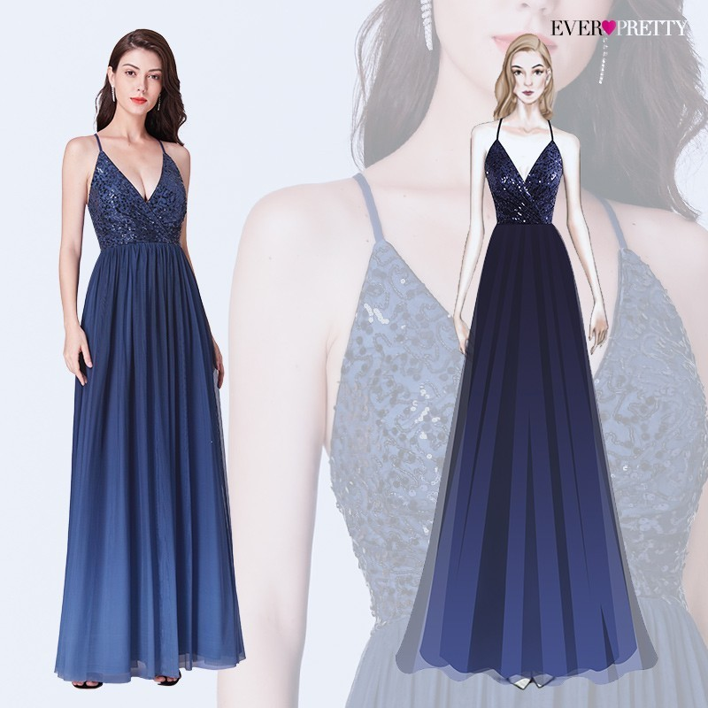 Prom Dresses 2020 Ever Pretty Sexy Navy Blue A Line V Neck Backless Long Sequined Formal Wedding Party Gowns Robe De Soiree