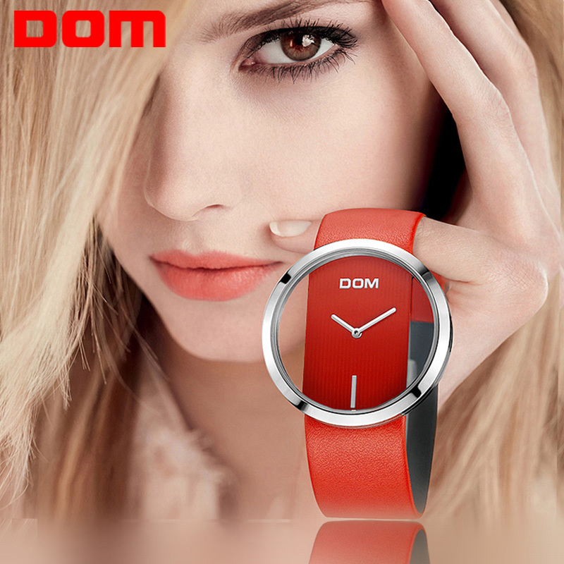 Watch Women DOM brand luxury Fashion Casual quartz Unique Stylish  Hollow skeleton  watches leather sport Lady wristwatches 205