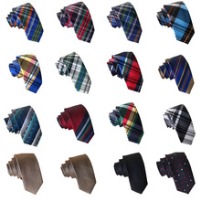 Men Colorful Plaid Grids Tartan Striped Polka Dots 6cm Skinny Neck Tie HZTIE0029