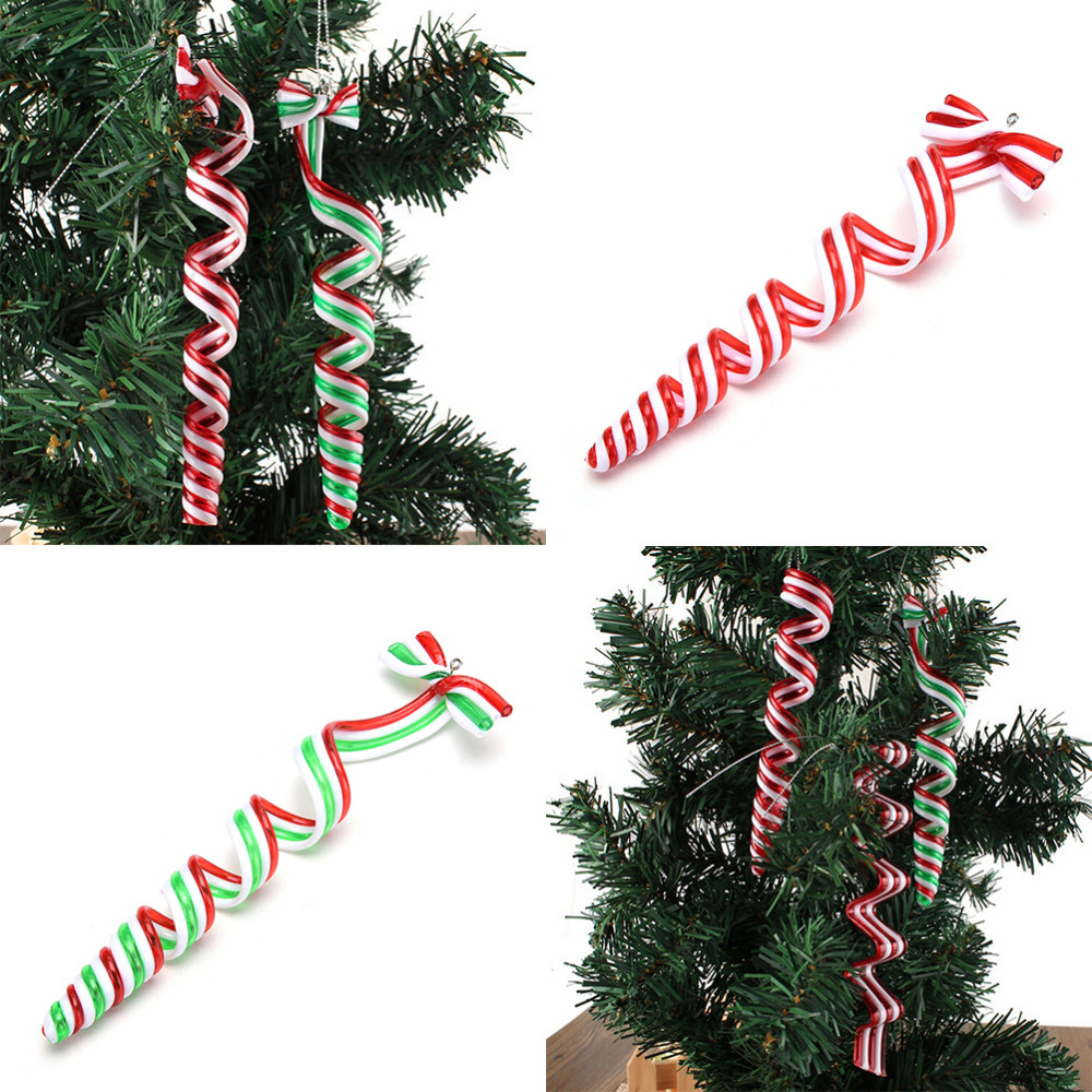 4 Pcs Christmas Ornaments Striped Pendants Home Party Decoration Tree  Christmas Decoration Supplies(china (