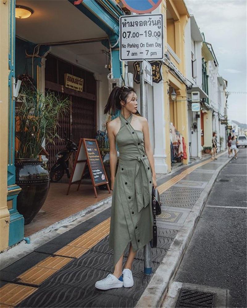 Boutons Parti Gaine Nouvelle De L'épaule Asymétrique Mode Halter Sans Green Vêtements Féminine 2018 Femmes Manches Robe Qlzw Zx85qwPg8