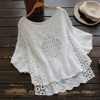 White Hollow Out Embroidered Lace O Neck Loose Batwing Sleeve Cotton Linen Blouse Mori Girl 2017